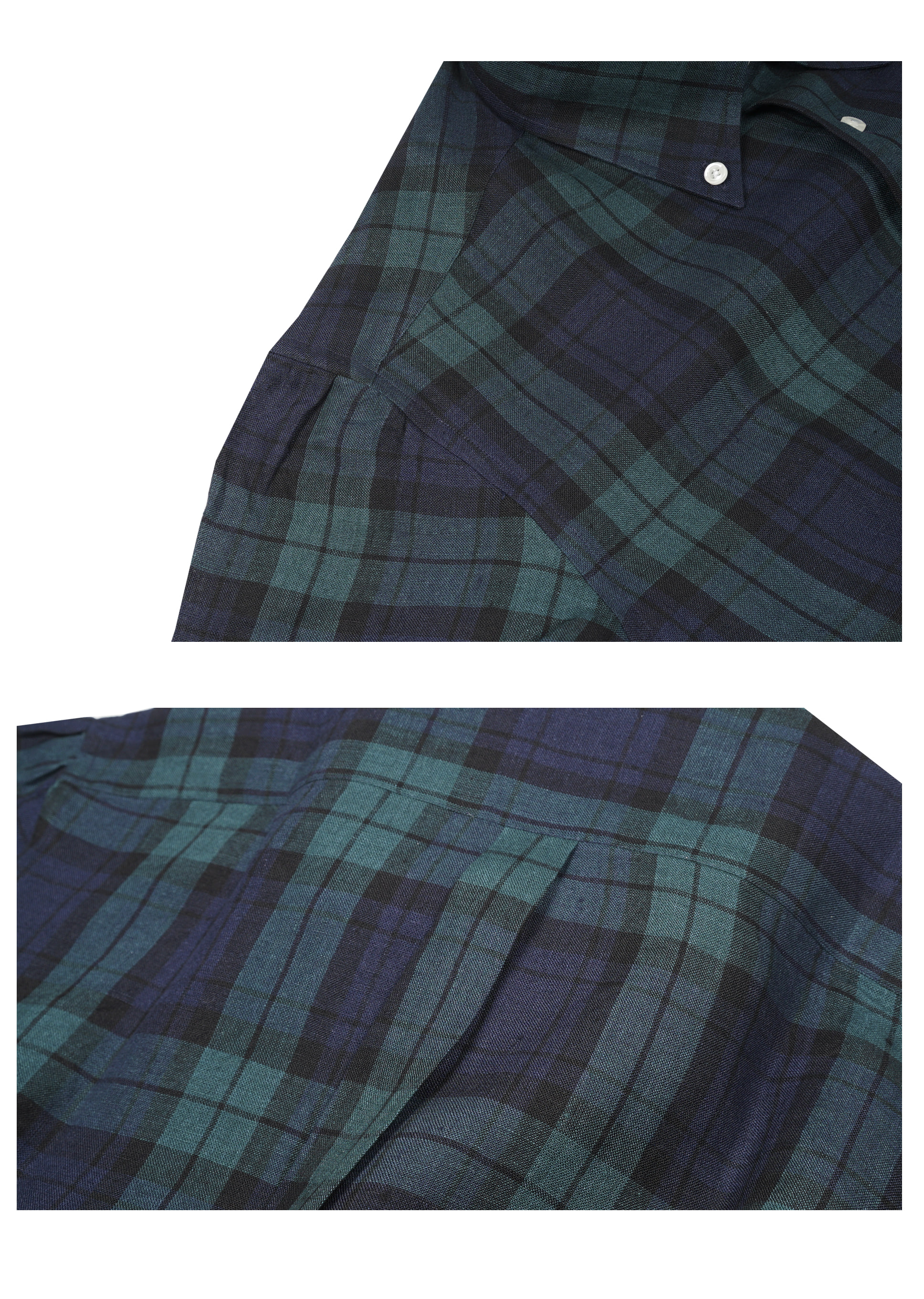 SHIRTSTARTAN CHECK LINEN + SHIRRING